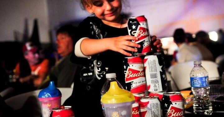 girl with beer cans